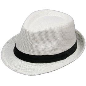 GETS(ゲッツ) 麦わら帽子 ストローハット ペーパーポケッタブルハット パナマ帽 中折れ ハット 洗える帽子 リボン付き メンズ レディース 春 夏 アウトドア (ホワイト)
