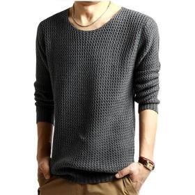 Lisa Pulster シンプル ニット メンズ セーター 長袖 (ダークグレー, XL)