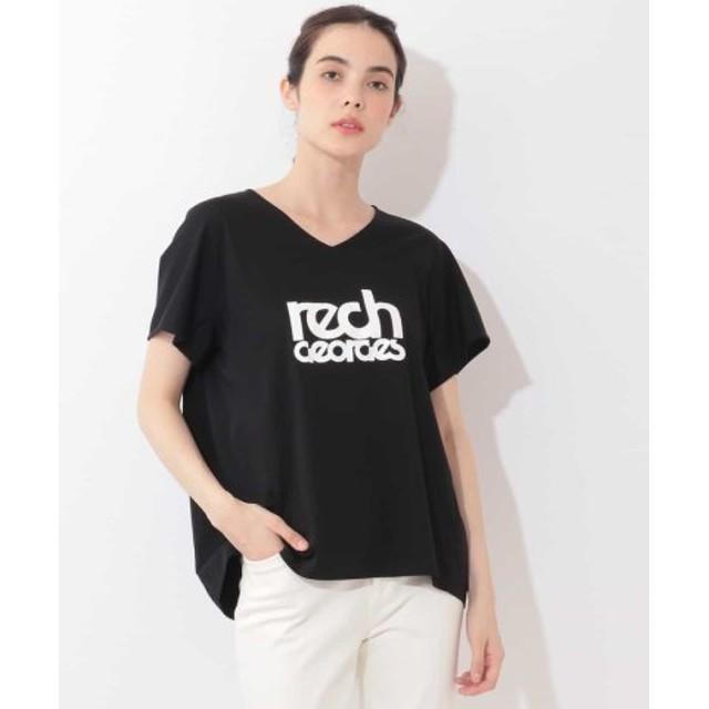 (GEORGES RECH/ジョルジュ レッシュ)【洗濯機OK】VネックロゴTシャツ/レディース ブラック 送料無料