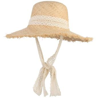 C-Princess ストローハット 麦わら帽子 つば広ハット ビーチハット カンカン帽 レース あご紐付き レディース 優雅 小顔効果 紫外線対策 旅行 戸外