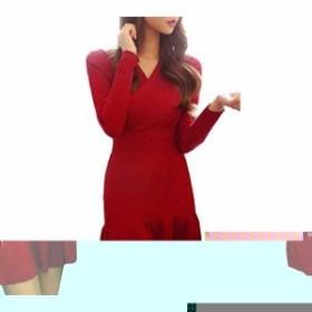 レディース 胸 カシュクール ミニ ワンピース 長袖 タイト Vネック ニット フリル かわいい オシャレ dress mini bodycon(レッド)