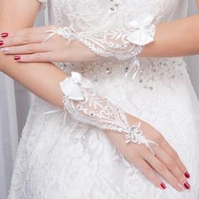 Ymgot 花嫁手袋 ウエディング グローブ ショート ブライダル手袋 オフホワイト 刺繍 結婚式 披露宴 二次会 パーティー