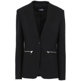 《セール開催中》KARL LAGERFELD レディース テーラードジャケット ブラック 42 レーヨン 60% / ナイロン 35% / ポリウレタン 5% PUNTO JACKET W/ LOGO TAPE