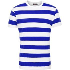 ボーイズ ティーシャツ ボーダー 半袖 丸首 着痩せ おしゃれ 兄弟お揃い 日常着 青 白 XL