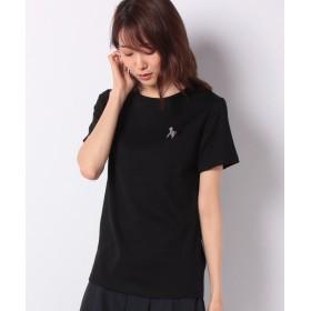 ルーニィ ワンポイント刺繍Tシャツ レディース ブラック 38 【LOUNIE】