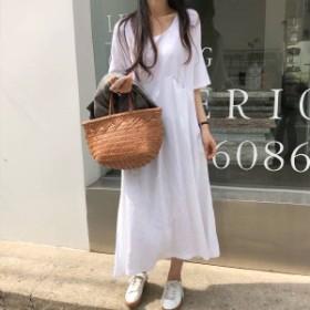 2019夏新作 レディース ワンピース  半袖 ロング・マキシ丈ワンピース y018
