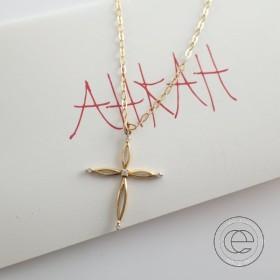 Ahkah Blancアーカーブラン AB-278 K18 5Pダイヤモンド フィーノクロスネックレス イエローゴールド レディース