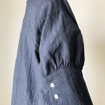 秋まで使える リネン ロング 半袖 ワンピース ネイビー (赤 ベージュ)