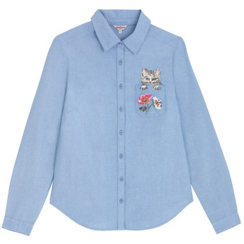 【8】ポケットオックスフォードシャツ キャット&フラワー
