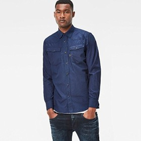 G-Star RAW(ジースターロゥ) 3301 長袖 チェックシャツ インディゴ メンズ D05451-9016 8625 XXS