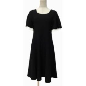 【中古】アンドクチュール And Couture ワンピース ひざ丈 半袖 38 黒 ブラック レディース