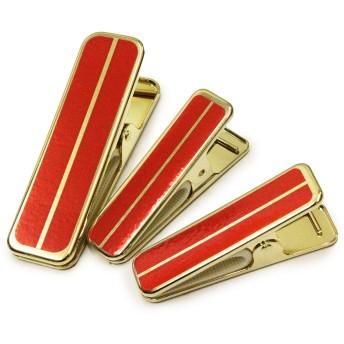 [オオキニ] 着物クリップ あづま姿 衿止め 着付小物 真鍮 赤 ハンディクリップ 大 小 MIX (NO,6954)