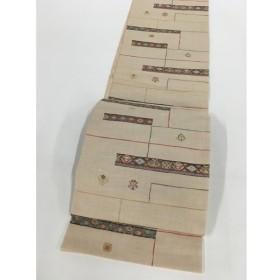着物 美品 名品 袋帯 ベージュ 草花 菱 幾何学模様 金糸 六通 正絹  リサイクル バイセル  PK50