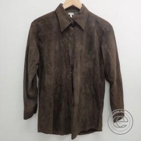 国内正規   HERMES エルメス マルジェラ期 シープスキン スエードシャツ トップス 40 ダークブラウン メンズ