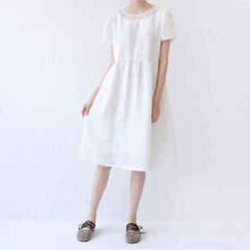 【L】★夏SALE★半透明刺繍衿ぐり大人可愛い半袖ワンピース♪