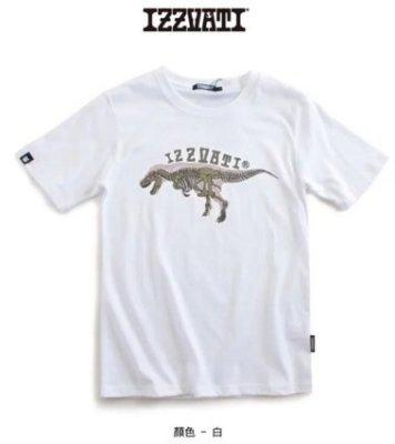 IZZVATI (9)亂線龍 溫感變色 短袖T恤-I10923-80白色- 純棉T恤 台灣製T恤 恐龍圖案T恤