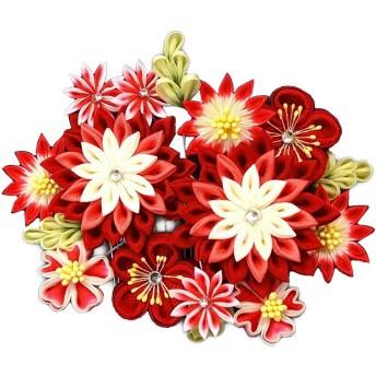 髪飾り wk-077-1 赤 レッド 花 かんざし つまみ細工 コーム型 振袖 成人式 卒業式 結婚式 七五三 袴 和装