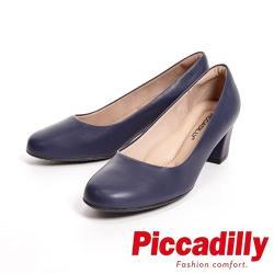 Piccadilly 專業上班族 霧面粗跟中跟女鞋-藍(另有黑)