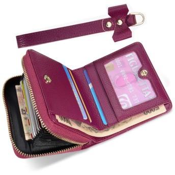二つ折り 財布 SHANSHUI クレジットカードケース 小銭入れ スキミング防止 本革 じゃばら レディース パープル