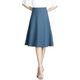 meng@xie女性のハイウエスト夏 A ワードスカート-ミディアムとロングセクションスリムカジュアルチュチュ傘スカート (S, ブルー)