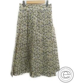 綺麗 17AW BLAMINKブラミンク フラワープリント  シルク100%  プリーツスカート36  イエロー/パープル  レディース