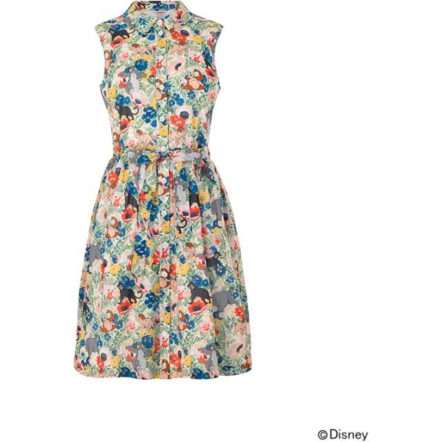 【12】ディズニー『ジャングルブック』 スリーブレスシャツドレス  ジャングルフラワー
