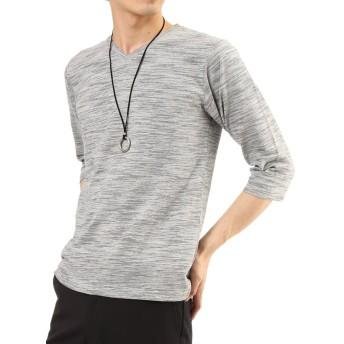 (アーケード) ARCADE メンズ カットソー スラブボーダー 7分袖 Vネック Tシャツ LL グレー(7分袖)