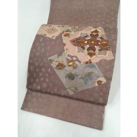 着物 名品 袋帯 ピンク お太鼓柄 色紙 草花 金糸 刺繍 正絹  リサイクル バイセル  PK50