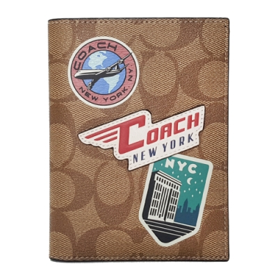 COACH 經典LOGO時尚拼貼徽章護照夾