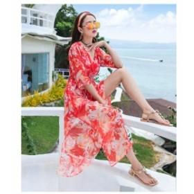 マキシワンピース 半袖 花柄 カシュクール スリット エレガント リゾート ビーチ  フェミニン XL 送料無料