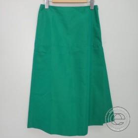 19SS BLAMINKブラミンク  コットンシルクインパ—ティドプリーツトラペーズスカート36  グリーン  レディース