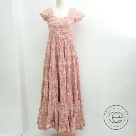 MARIHAマリハ 花柄 半袖 ギャザーマキシ丈ワンピース ピンク系