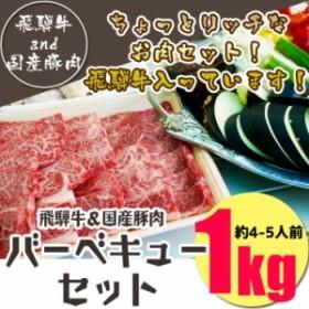 (冷凍)送料無料 飛騨牛&国産豚肉入りバーベキューセット1kg入り 飛騨牛400g+国産豚肉600g 大人数/肉セット/焼き肉/肉/飛騨牛/牛肉/