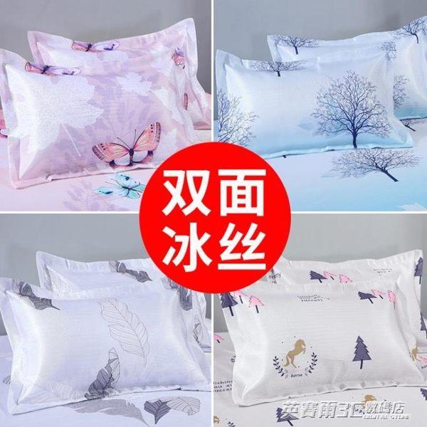 枕套夏季涼爽雙面冰絲涼席枕頭套夏天單人枕用枕芯套一對裝48x74 英賽爾