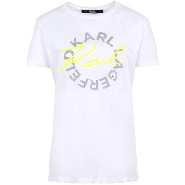 《セール開催中》KARL LAGERFELD レディース T シャツ ホワイト S コットン 100% NEON LIGHTS DBL LOGO T-SHIRT