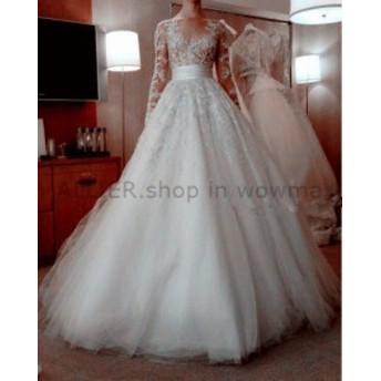 サイズオーダー可 ウェディングドレス マーメイドシアーロングスリーブレースフォーマルウェディングドレススイープトレーンブライダル