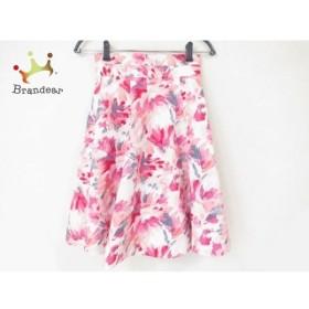 アプワイザーリッシェ スカート サイズ0 XS レディース 美品 ピンク×グレー×白 花柄 新着 20190721