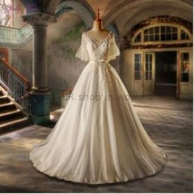 サイズオーダー可 ウェディングドレス シンプルなラインVネックレースアップリケ床長さのウェディングドレスブライダルドレス Simp
