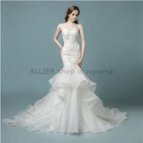 サイズオーダー可 ウェディングドレス  ホワイト/アイボリーのボールガウンストラップレスフリルドオーガンザのウェディングドレス
