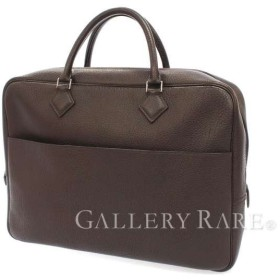 エルメス ブリーフケース プリュムドッグ ショコラ×シルバー金具 フィヨルド G刻印 書類バッグ ビジネスバッグ
