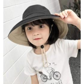 子供サンバイザーつば広帽子 キャップ キッズベビー用ハット 紫外線 UVカット ワイヤー付き 取り外すあご紐 日よけ帽子 女の子 男の子