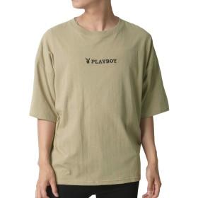 [プレイボーイ] Tシャツ 刺繍 ロゴ ビッグ シルエット メンズ ベージュ XL