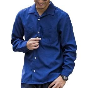 (エーエスエム) A.S.M メンズ シャツ メランジ調 トロピカルオープンカラーシャツ 02-01-8605 50(L) ネイビー ASM エイエスエム