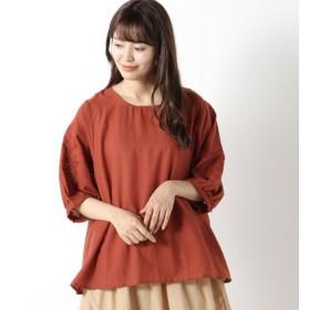 シャツ ブラウス レディース 袖刺繍入りブラウス 「オレンジ」