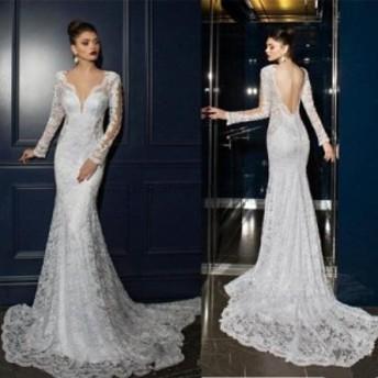 サイズオーダー可 ウェディングドレス マーメイドVネックバックレスロングスリーブレースウェディングドレスブライダルドレス