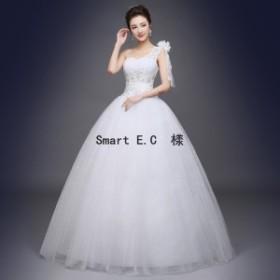 新作★ ウェディングドレス 流れるドレープが美しいプリンセスラインドレス 結婚式や二次会 花嫁ドレス 海外挙式におすすめ hs16
