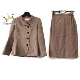 ユキトリイ YUKITORII スカートスーツ サイズ9 M レディース ベージュピンク×黒 千鳥格子/ラメ 新着 20190721
