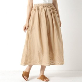 スカート レディース ロング 裾刺繍スカート 「キャメル」