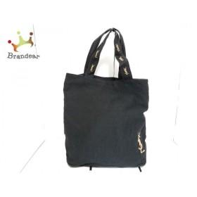 イヴサンローランパフューム トートバッグ 黒×ベージュ 刺繍 キャンバス 新着 20190721