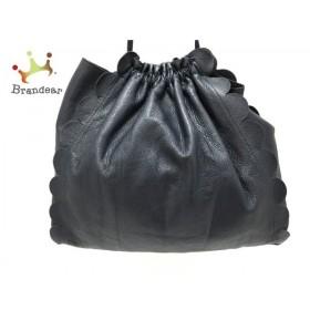 ラドロー LUDLOW ショルダーバッグ 美品 ネイビー 巾着型/スカラップ レザー  値下げ 20190902